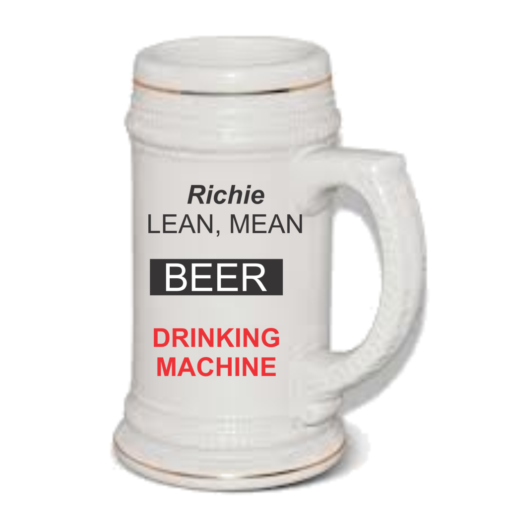 Lean mean drinking machine beer mug