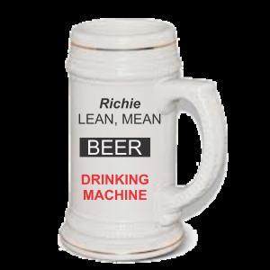 Lean mean drinking machine beer mug