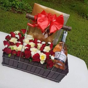 Flowers box and fine wine